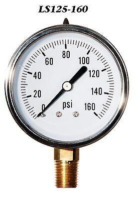 2 12 Pressure Gauge Stainless Steel Case Liquid Filled 0-160 Psi Lwr Mnt