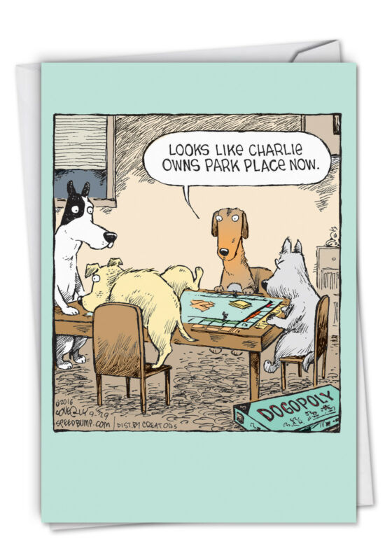 1 Funny Birthday Card with Envelope - Dogopoly C3986BDG
