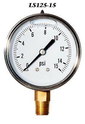 New Hydraulic Liquid Filled Pressure Gauge 0-15 Psi 2.5 Face 14 Lm