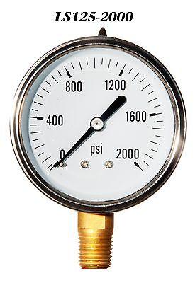 New Hydraulic Liquid Filled Pressure Gauge 0-2000 Psi 2.5 Face 14 Lm