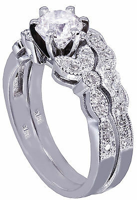 18k White Gold Round Cut Diamond Engagement Ring And Band Art Deco Bridal
