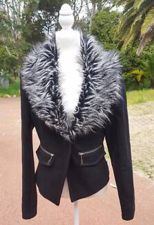 Black Blazer Jacket with Faux Fur by GASP / Womens Size 12