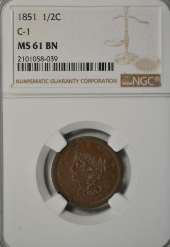 1851 Braided half cent, NGC MS61