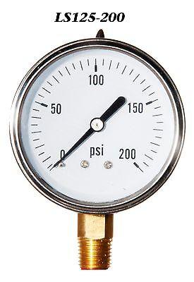 New Hydraulic Liquid Filled Pressure Gauge 0-200 Psi 2.5 Face 14 Lm