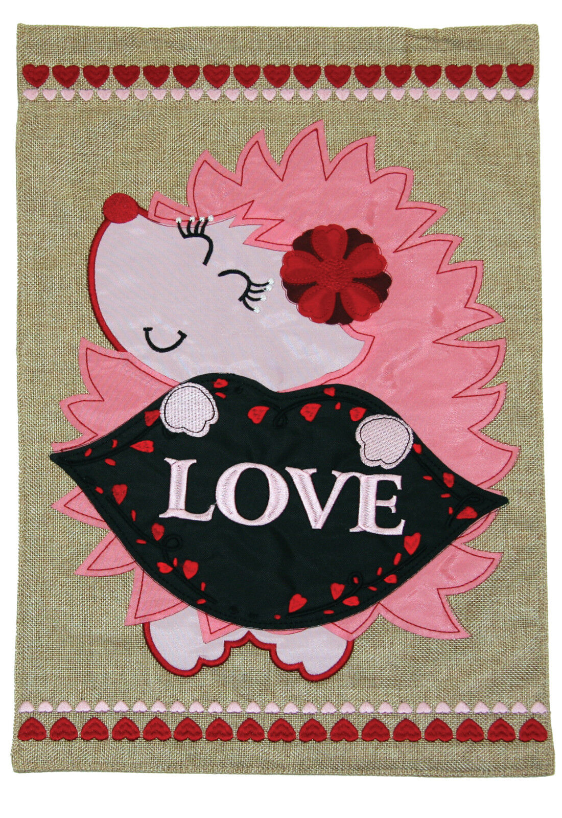 Toland Love Hedgehog Burlap 12 x 18 Cute Red Pink Heart Vale