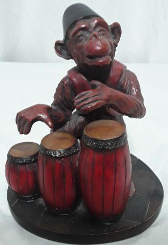 Awesome Resin Monkey Chimp Fez Hat Sitting Playing On Bongo Drum Figurine
