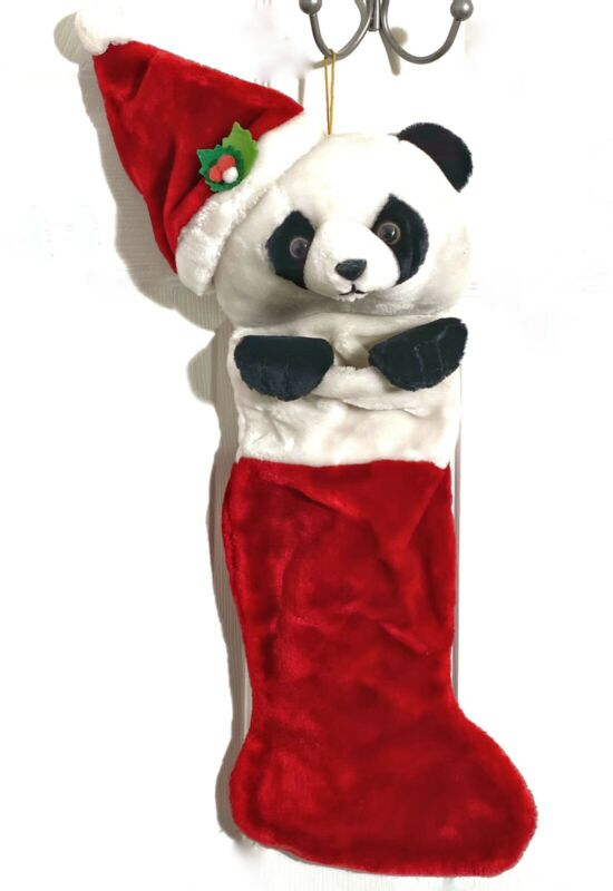 White PANDA Head Christmas Stocking Vintage Plush West World Trading Co Red 3D