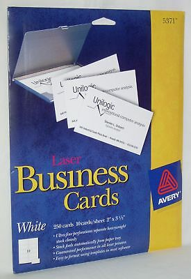Perforated Business Cards (AVERY #5371 Perforated White Laser Business Cards 250 Brand New Fast Free)