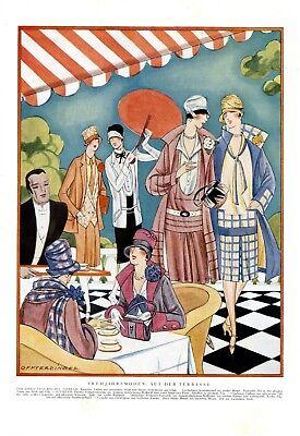 Mode Frühjahr 20er Jahre XL Modezeichnung 1927 von Annie Offterdinger * Hanau