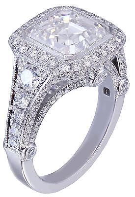GIA I-VS2 18k White Gold Asscher Cut Diamond Bezel Engagement Ring Deco 3.30ctw 8