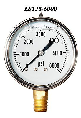 New Hydraulic Liquid Filled Pressure Gauge 0-6000 Psi 2.5 Face 14 Lm