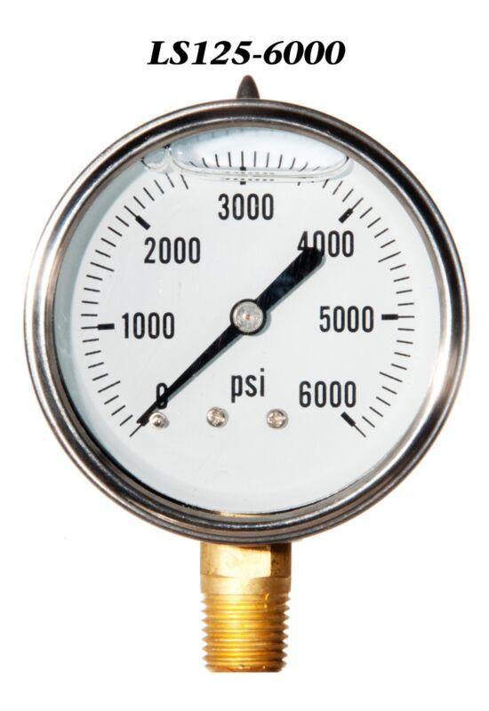 "New Hydraulic Liquid Filled Pressure Gauge 0-6000 PSI 2.5"" Face 1/4"" LM"