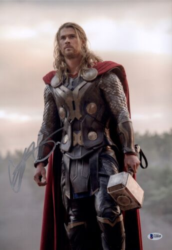 CHRIS HEMSWORTH Signed THOR Avengers 12x18 Photo IN PERSON Autograph BAS COA