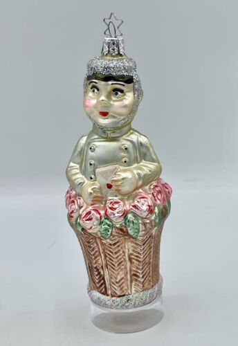 """Page With A Message In a Basket Stand - Inge Glas Ornament Germany - 6"""" EUC"""
