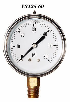 New Hydraulic Liquid Filled Pressure Gauge 0-60 Psi 2.5 Face 14 Lm