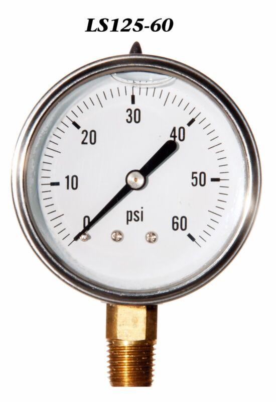 "New Hydraulic Liquid Filled Pressure Gauge 0-60 PSI 2.5"" Face 1/4"" LM"
