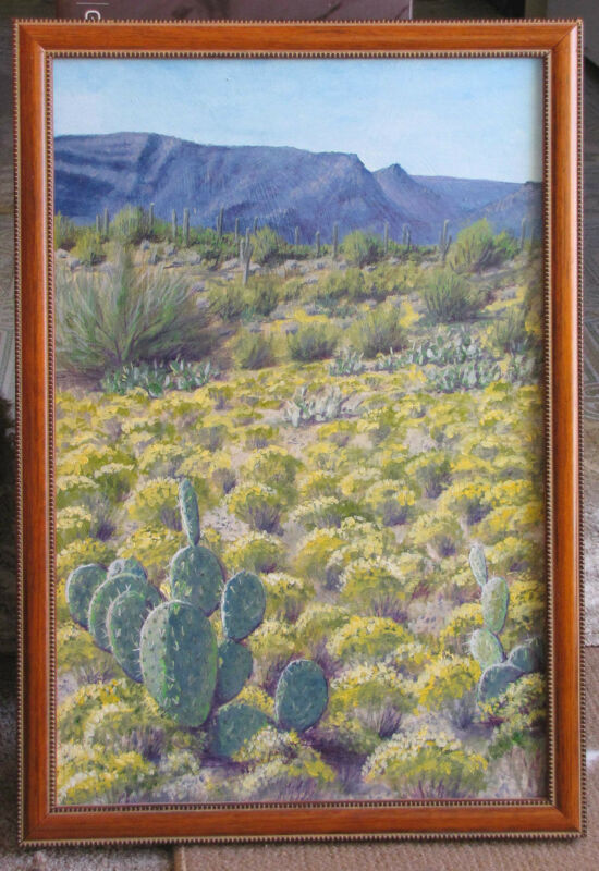 Framed Original Landscape Oil Painting - Arizona High Desert w/ Cacti & Mountain