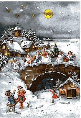 """# Adventskalender # KORSCH Verlag 10397 """"Engel auf der Brücke"""" mit GLIMMER"""