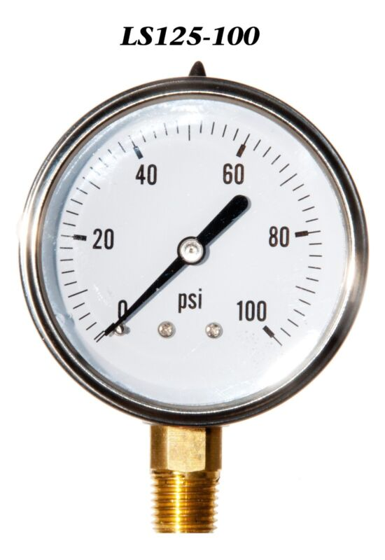 "New Hydraulic Liquid Filled Pressure Gauge 0-100 PSI 2.5"" Face 1/4"" LM"