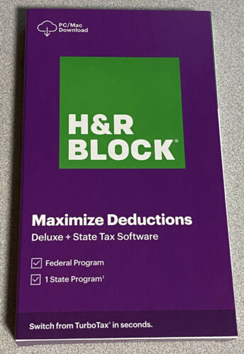 H&R Block Tax Software 2020 Deluxe Federal + State New 1336600-20 735290107015