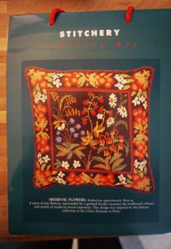 Stitchery Tapestry Needlepoint Kit Medieval Flowers Pillow NEW England