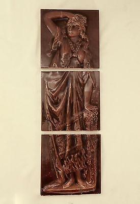 "CAMBRIDGE TILE MANUF COMPANY 3-Tile SET w/Goddess + Roses.Hallmarked. 61/8"" 1890"