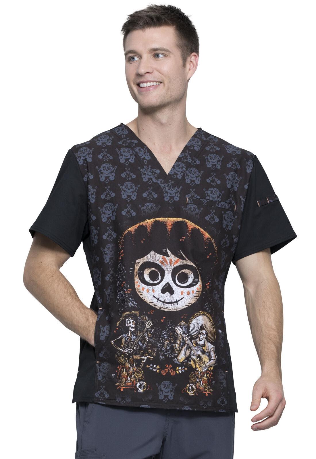 Coco Cherokee Scrubs Tooniforms Disney Mens V Neck Top TF700