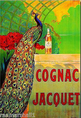 Bird Vintage Poster (Cognac Jacquet Peacock Bird Liqueur Wine Vintage Advertisement Art Poster Print )
