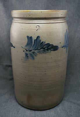 Blue Decorated STONEWARE 2 Gallon CROCK Salt Glazed - Pennsylvania 13 1/4""