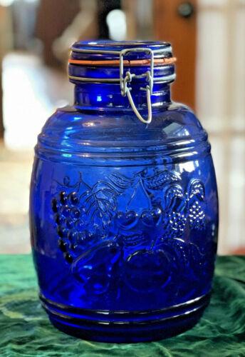 """Large 10"""" Vintage Cobalt Blue Cookie Canister Jar Baril de Fruits Barrel Fruits"""