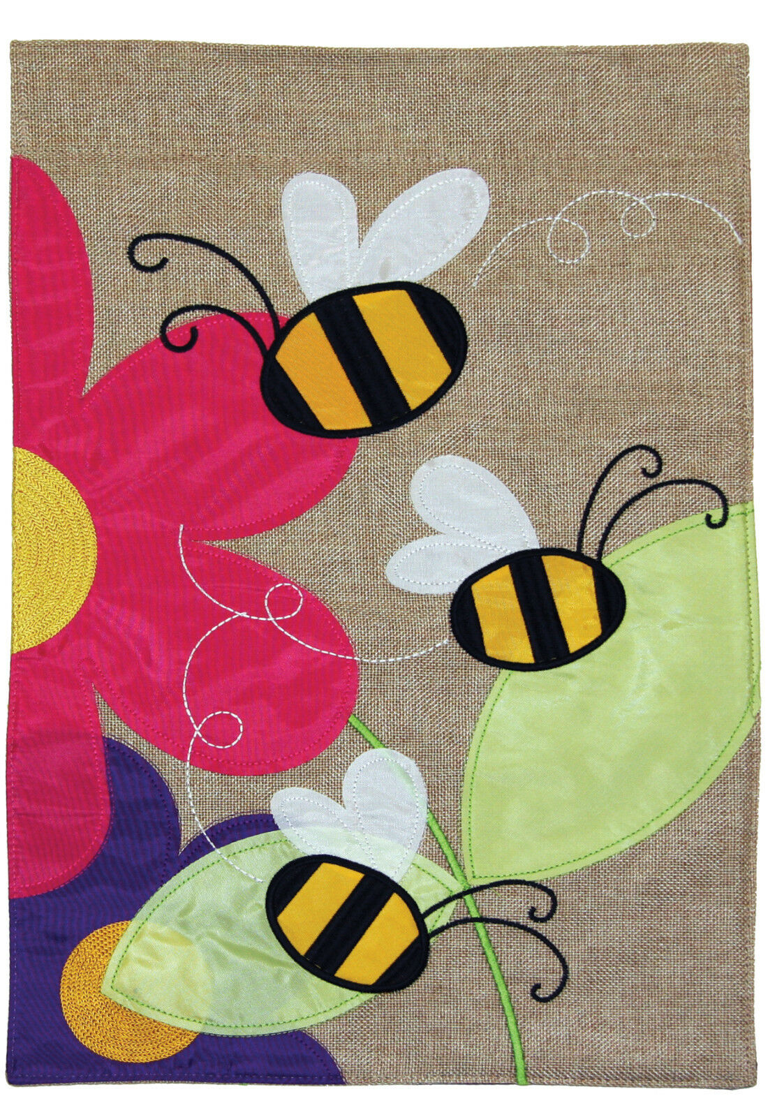 Toland Buzzing Bees Burlap 12 x 18 Colorful Spring Flower Ga