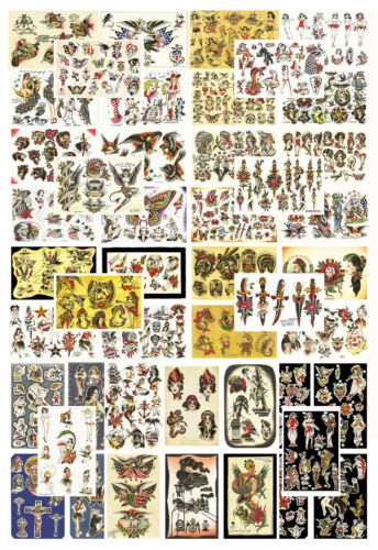 Traditional, Vintage, Old School Style Tattoo Flash Collection, 46 Sheets 11x17