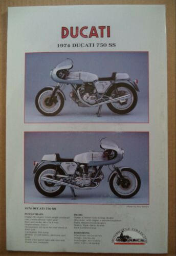 1974 DUCATI 750 SS  SPEC SHEET  MOTORCYCLE  COLLECTORS POSTER SERIES