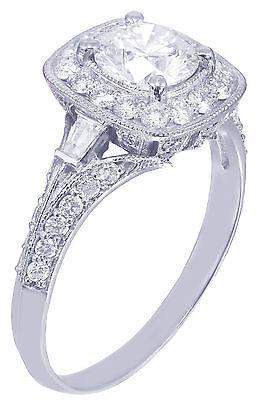 GIA H-VS2 14k White Gold Round Cut Diamond Engagement Ring Deco Prong 1.95ctw 9
