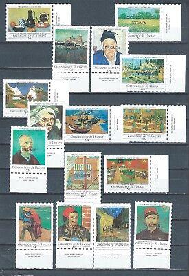 Grenadines of St. Vincent 1991 mnh SPECIMEN stamp set - Van Gogh - Sc 749-64 Art