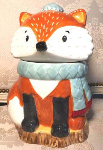 "NEW HARVEST Fox Cookie Jar 100% Earthenware Ceramic Never Used 10"""