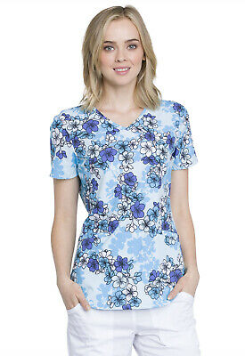 Beautiful Blossoms Cherokee Scrubs Genuine Mock Wrap Top CK637 BTUL - Beautiful Cherokee Woman