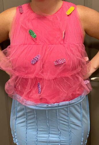 Halloween Womens Adult Small 4-8 Sprinkle CUPCAKE Costume Mom Cupcake PINK