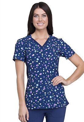 Dot Scrubs (Polka Dot Confetti Cherokee Scrubs iFlex V Neck Knit Panel Top CK636 POCN)