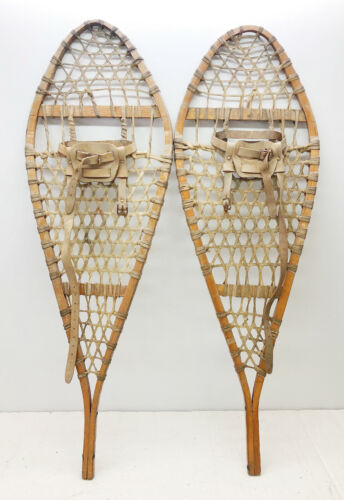 """Antique Vintage 14"""" X 40"""" Snowshoes Usable or Decor - Free Shipping"""