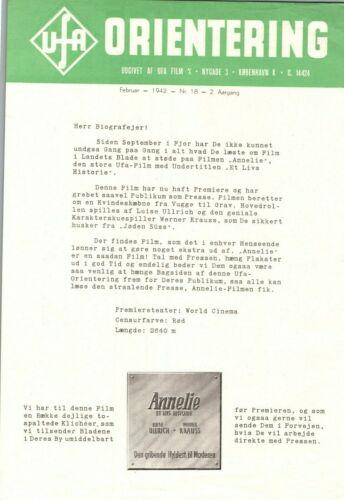 Annelie Luise Ullrich, Werner Krauss 1941 1 Page Danish Movie Press Release
