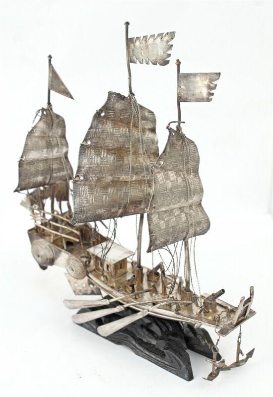 Antique Sterling Miniature Chinese Junk War Ship Model