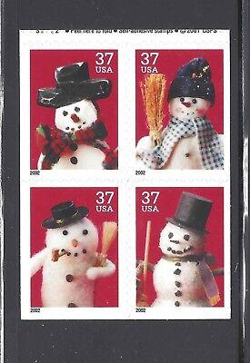 US Scott # 3684 - 3687 / Christmas Snowmen 2002 block of 4 from 3687b DS Pane (Christmas Snowmen)