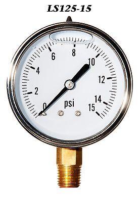 New Hydraulic Liquid Filled Pressure Gauge 0-15 Psi