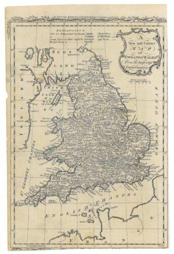 Antique 1779 Map England & Wales - John Hamilton Moore - Voyages & Travels