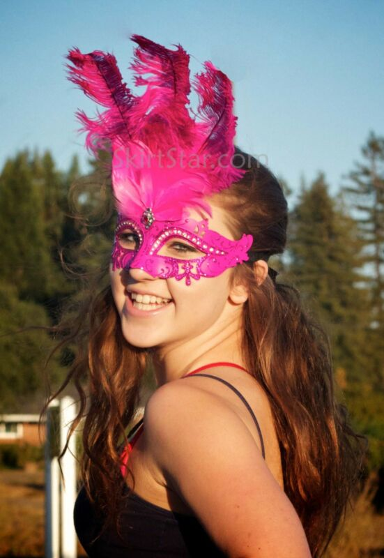 VENETIAN MASK half masquerade Crystal LASER CUT feathers Carnivale HOT PINK new