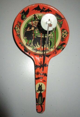 Vintage US Metal Toy MFG WITCH CAULDRON Halloween Noisemaker Double Clanger Tin