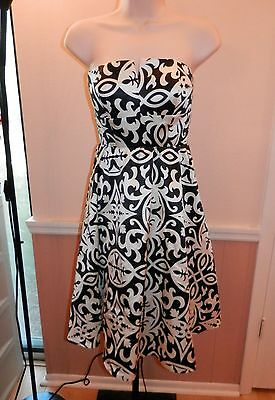 Int Satin - $149 INC/INT'L CONCEPTS Black/Ivory Strapless Satin Flirty Cocktail Dress SIZE 2