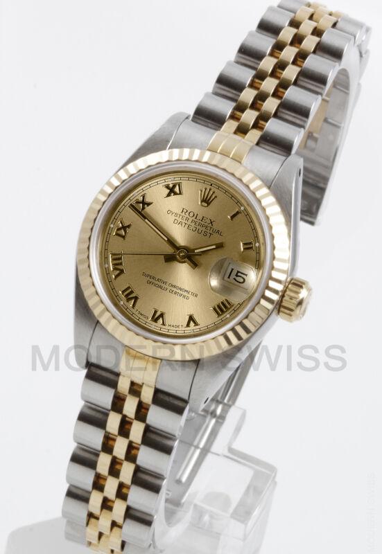 Rolex Ladies Datejust 18k Gold & Steel Champagne Roman Jubilee 69173 Quickset