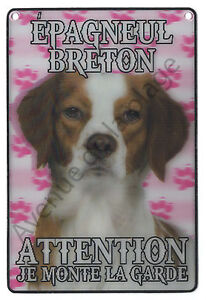 plaque attention au chien je monte la garde epagneul breton id 233 e cadeau neuf ebay